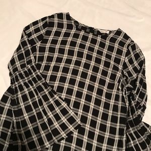 Checkered Bell Sleeve Top